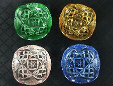 4 Art Deco Butter Pats Finger Bowls Pink Green Amber Blue Glass