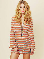 Free People Multicolor Parallel Crochet Hooded Tunic Sweater Top Size XS