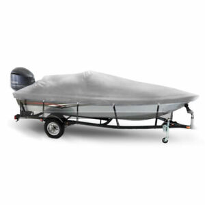 Windstorm Boat Cover for V Hull Fishing Boats, Outboard Motor, 600D Waterproof