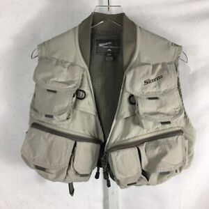 Vintage Simms Fly Fishing Vest Multiple Zipper Pockets Breathable Tan & Gray S/M