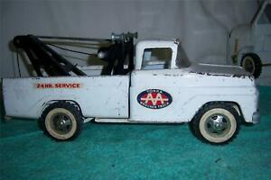 """Tonka Wrecker Truck 1962 # 518 Pressed Steel A fully working old Toy 14 """" Long"""