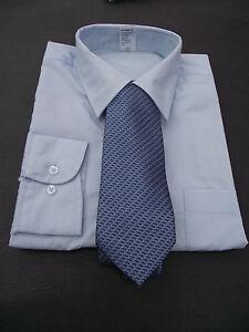 BNWT Mens Sz 39 Pale Blue Long Sleeve Business Shirt + Blue Tie Set