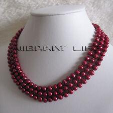 "50"" 6-7mm Reddish Purple Freshwater Pearl Necklace Strand Fashion Jewelry U"