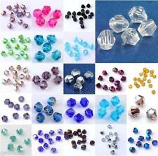 100 PCS TINY FACETED CRYSTAL GLASS BICONE BEADS  4MM  Mixed