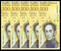 VENEZUELA BOLIVARES 5 X 100000 (100,000) P-NEW UNC LOT 5 PCS Total