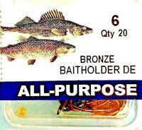 🐟 All-Purpose Generic Hook Size 6 Bronze Baitholder Fishing Hooks - 20 Hooks 🐟