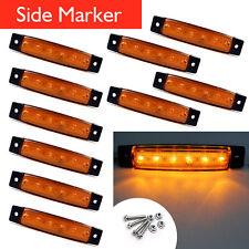 10X 6 LED Truck Boat Trailer Side Marker Indicators Light Lamp Amber For 12V 24V