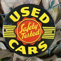 VINTAGE USED CARS LOT DEALERSHIP PORCELAIN METAL SIGN SAFETY TESTED SALES GAS
