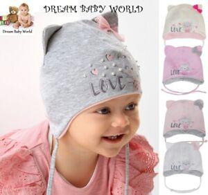 Cotton baby girls hat SPRING size 0 - 12 months GIRL Tie up KIDS Kitty