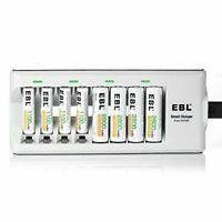EBL 808 8 Bay Smart Battery Charger with 4 Pack 2800mAh AA and 4 Pack 1100mAh AA