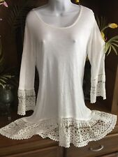 Indigo Soul White 3/4 Slv w/ Crochet Swim cover Tunic Top mini dress Hippie Med.