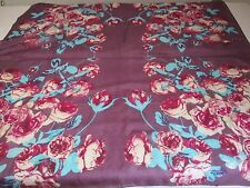 ❤️ MADE IN INDIA BNIP MAROON & PINK PEONY ROSE PRINT XL PURE SILK SQUARE SCARF