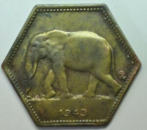 mw16046 Belgian Congo; 2 Francs 1943 African Elephant KM#25