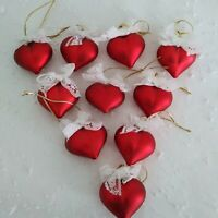 10  Red HEART ORNAMENTS with White Lace Bows VALENTINE Feather Tree Bowl Filler