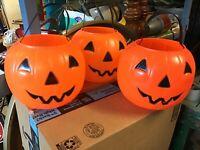 WOW! 3 Vintage Blow Mold Halloween Empire Pumpkin Candy Carrier Bucket JOL