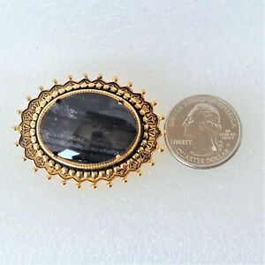 Vintage NEW Brooch Pin Oval Natural Picasso Stone Cabochon Gold Tone Metal