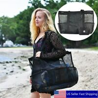 Women Summer Mesh Beach Handbag Travel Wash Bag Zipper Pockets Tote Purse Large