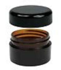 200x 20g Amber Plastic Lip Balm Small Sample Cosmetic Jars Container + Black Cap