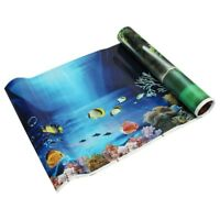 4X(Bleu Frais Mer Fond Aquarium Ocean Paysage Affiche fond de reservoir de p F6)