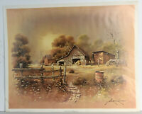 """21"""" 1983 Print Andres Orpinas Landscape w/ Old House Forest Fence Storm Day"""
