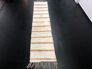 Tribal Turkish Kilim, Hemp Kilim Runner rug, Antique Kilim, White Kilim, C1014