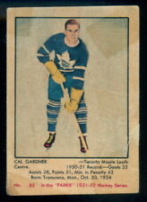 1951 52 PARKHURST HOCKEY #85 Cal Gardner RC VG TORONTO MAPLE LEAFS ROOKIE Card