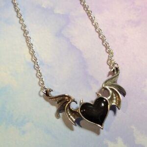 New Alchemy Gothic Pewter Enamel Black Soul Winged Heart Pendant Necklace P896