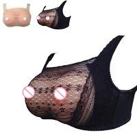 New Pocket Bra For Silicone Breast Form Fake Boobs See-through Crossdresser Bra
