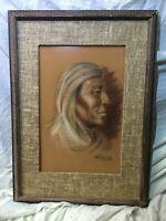 J.H. Richards Original Pastel Drawing, Portrait of a Taos Indian, Fine Art
