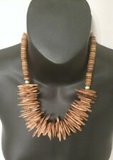 AFRICAN ART WOMENS WOODEN NECKLACE LAYER BEADED HANDMADE STYLE WOMENS LADIES