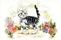 Kitten in the Magic Town Cat Art Village Peasant Russian Modern postcard