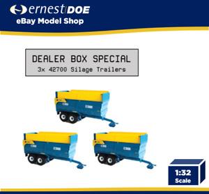 3x Britains 42700 Kane Silage Trailer Dealer Box Special - Sold by Ernest Doe