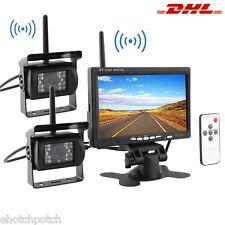 """24V Reversing Kit 7"""" LCD Monitor 2 CCD IR Cameras Wireless Horse Trailer Van RV"""