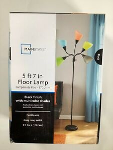 "Mainstays Multicolor Black Finish Floor Lamp 5' x 7"" in NEW! NIB"