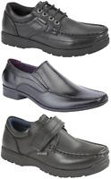 Boys Black School Shoes PU Leather Lace Up Slip On Dress Formal UK Sizes 1-6