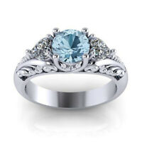 Women 925 Silver Fashion Aquamarine Jewelry Wedding Engagement Ring Size 6-10