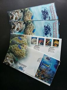 International Year Of The Reef Malaysia 1997 Coral Turtle Ocean Fish (FDC pair)