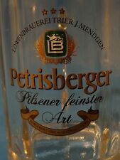 Beer Stein Mug Glass ~ LOWENBRAUEREI Trier J. Mendgen PETRISBERGER Pilsener Bier