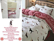🐶 Next Fair Isle Dog Breeds Floral Bed Set Dust Bag Vtg Grey Red White Black BN