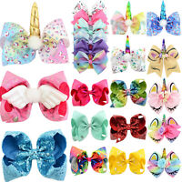 Girls JOJO Siwa Unicorn Hair Bow Princess Alligator Clip Hairpins Kids Xmas Gift