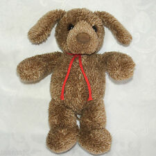 "Gund Brown Heathered White Puppy Dog Stringer 11"" Red Cord Ties Plush Stuffed"
