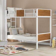 Twin over Full Bunk Beds Kids Teens Adult Dorm Bedroom Furniture w/Ladder White