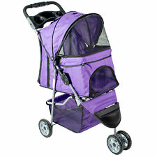 VIVO Purple 3 Wheel Pet Stroller / Cat & Dog Foldable Carrier Strolling Cart