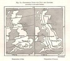 Julio & enero isotérmico Líneas. Buchan. bosquejo mapa 1885 islas británicas.