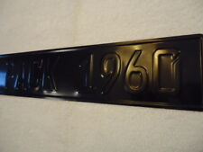 CUSTOM European German Style License Plate BLK text w BLK background. 10 spaces