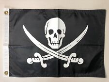 Flappin Flags 12 x18 Jolly Roger Pirate Skull Crossed Swords Flag