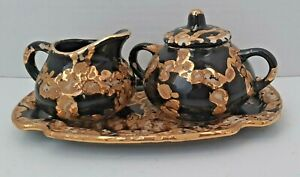 Fascination 3 PC SET Hand Decorated Sugar Creamer Tray Blue Warranted 22K Gold