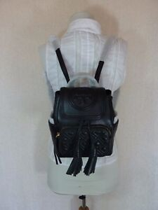 NWT Tory Burch Black Quilted Leather Mini Fleming Backpack $398