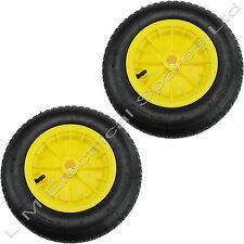 "2 Yellow 14"" Pneumatic Sack Truck Wheelbarrow Tyres Trolley Wheel Cart Wheels"