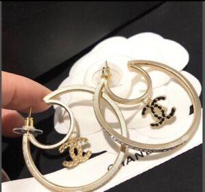 CHANEL Logo Rhinestone swing hoop earrings